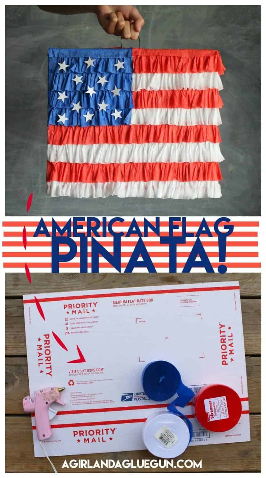 American flag pinata easy diy out of a box and hot glue
