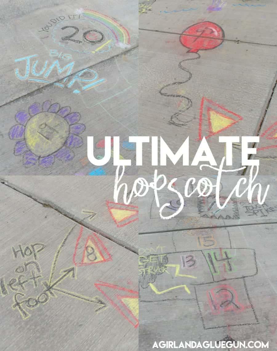 Ultimate hopscotch with sidewalk chalk