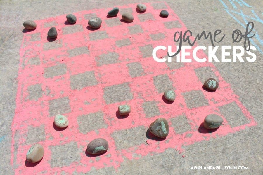Checkers sidewalk chalk