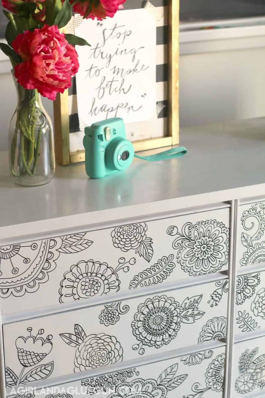 adult coloring book dresser