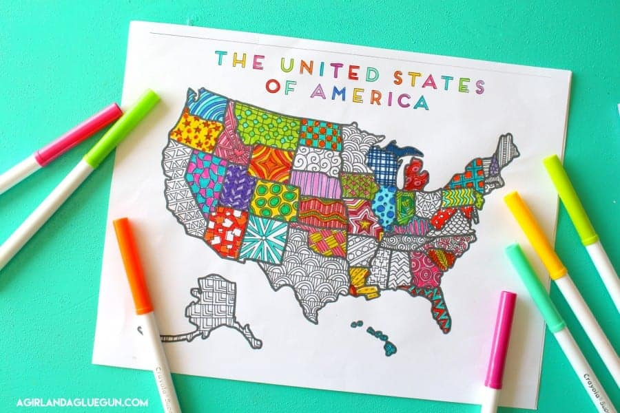 colorful united states printables