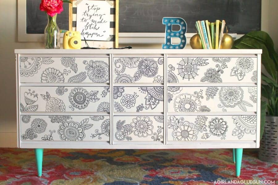 Diy Doodle Dresser With Sharpie Paint Marker A Girl And