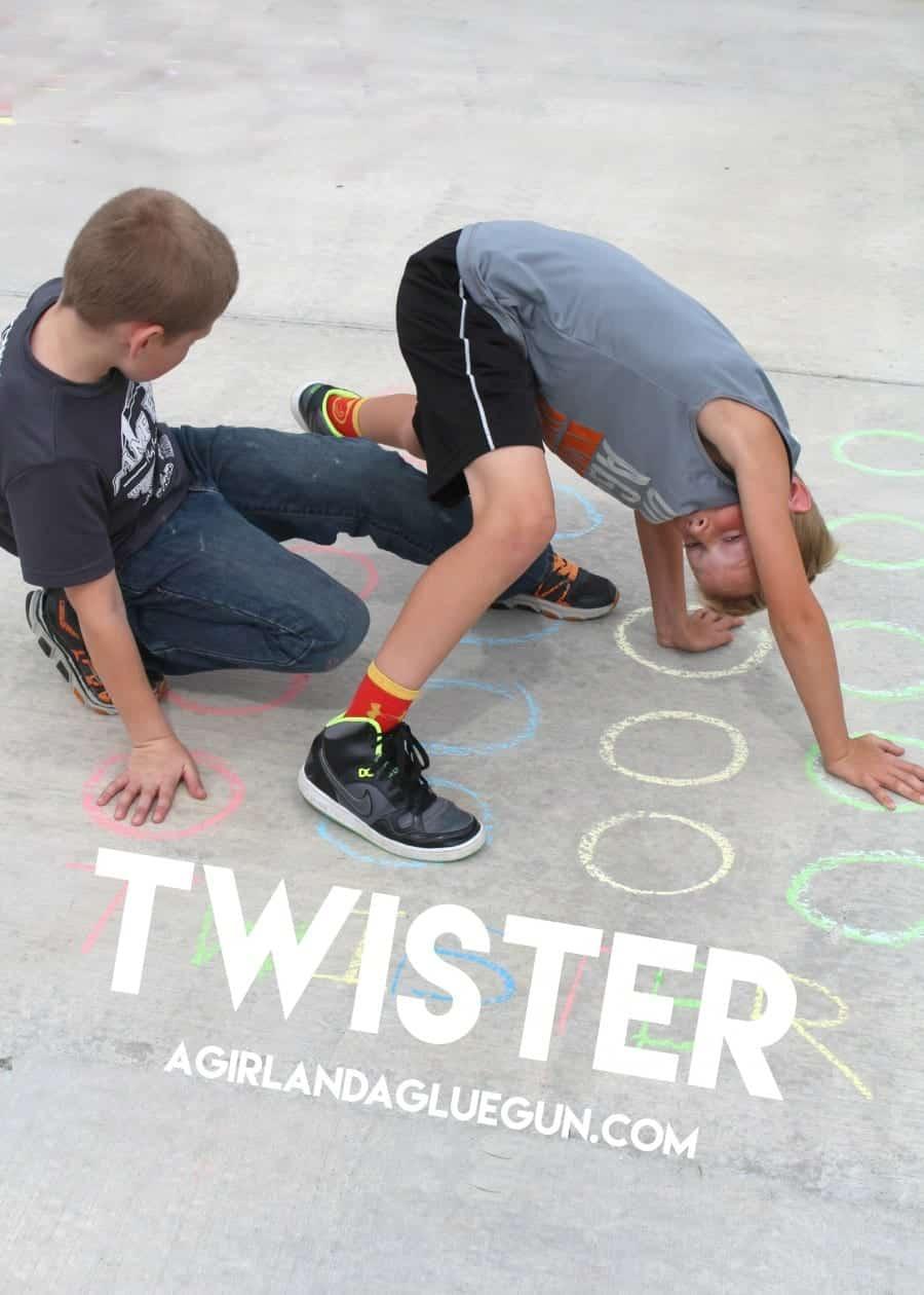 fun game of twister with sidewalk chalk