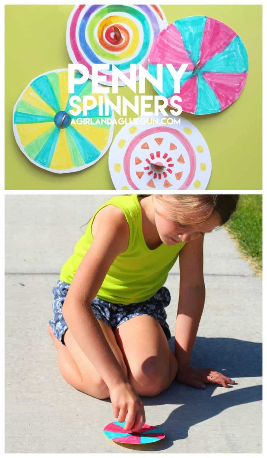 fun penny spinner craft for kids to do this summer