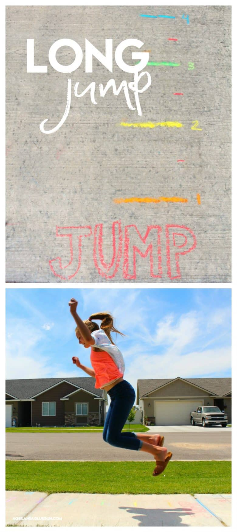 long jump sidewalk chalk game