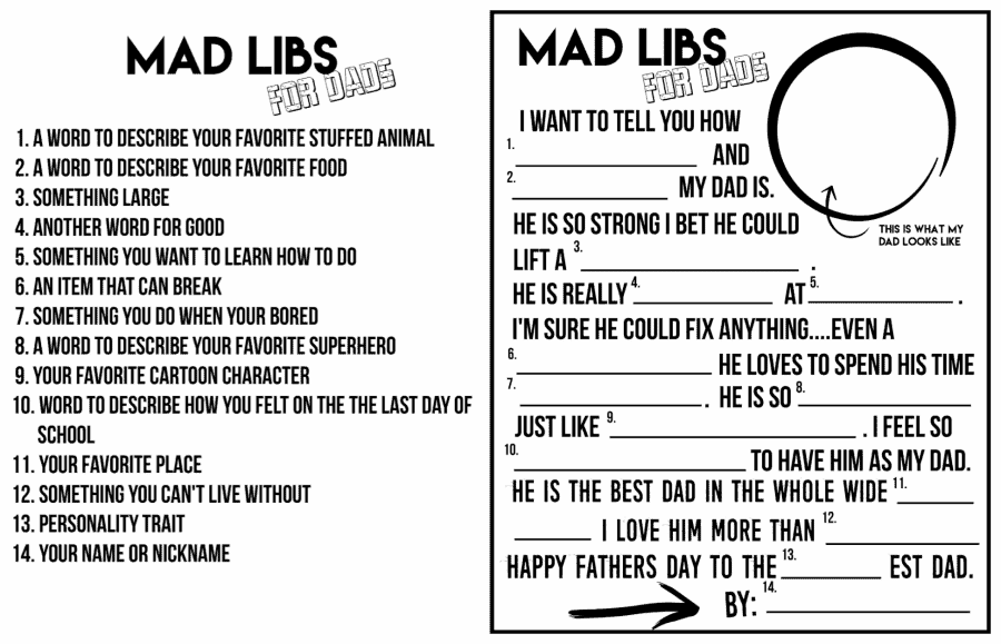 photograph about Printable Mad Libs Sheets for Adults called Ridiculous libs FOR DADS! A entertaining Fathers working day printable - A female and