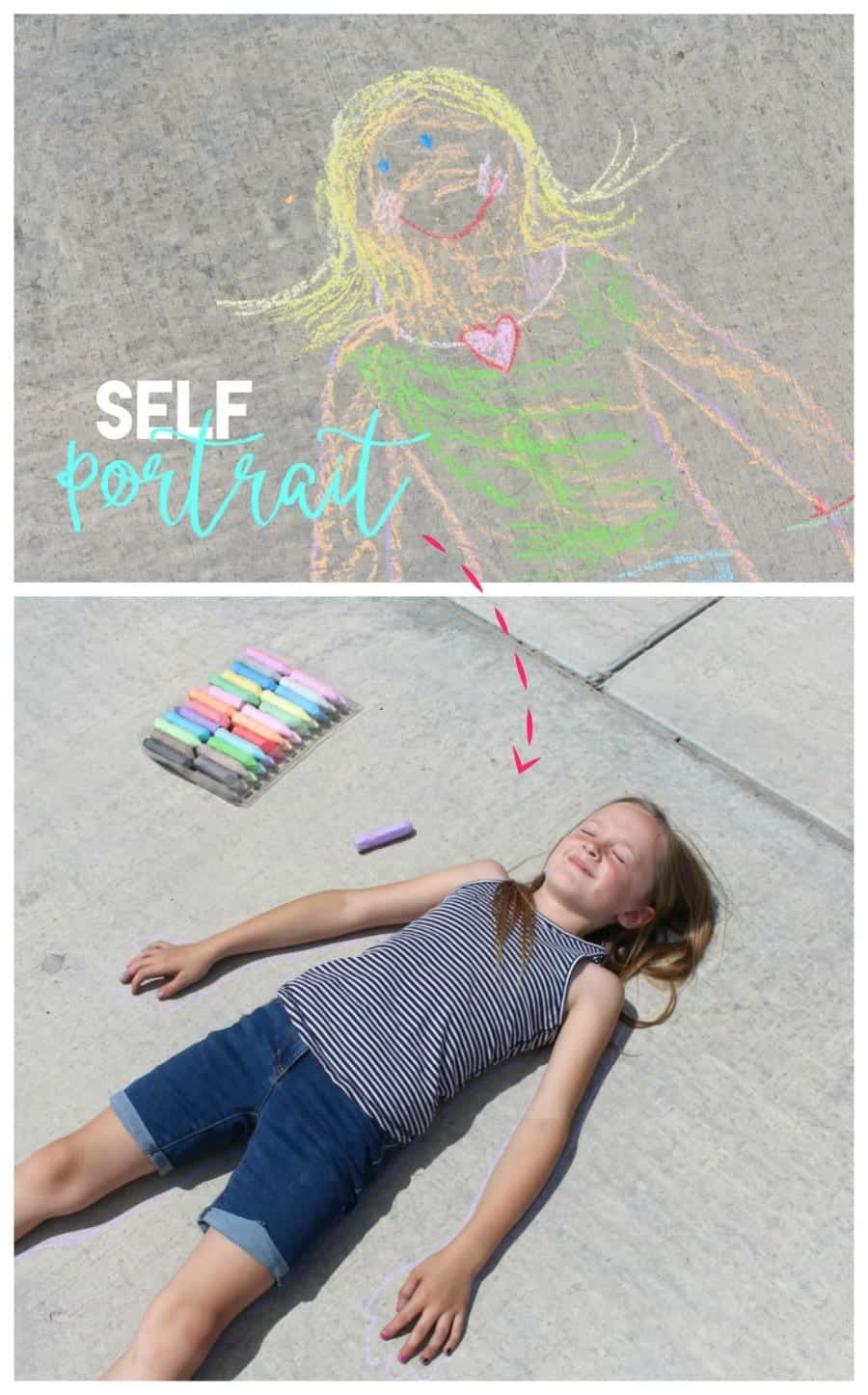 Self Portrait Sidewalk Chalk