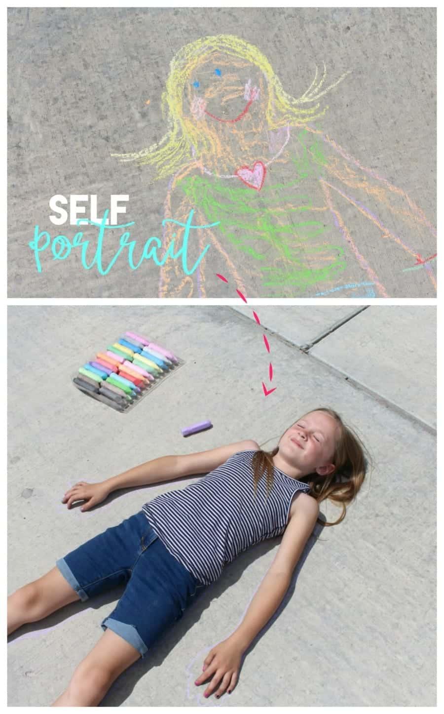 self portrait for fun chalk activity