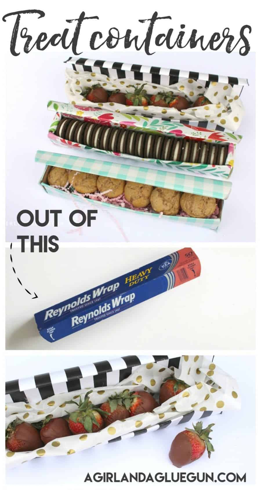 Treat containers out of a tin foil container a girl and a glue gun