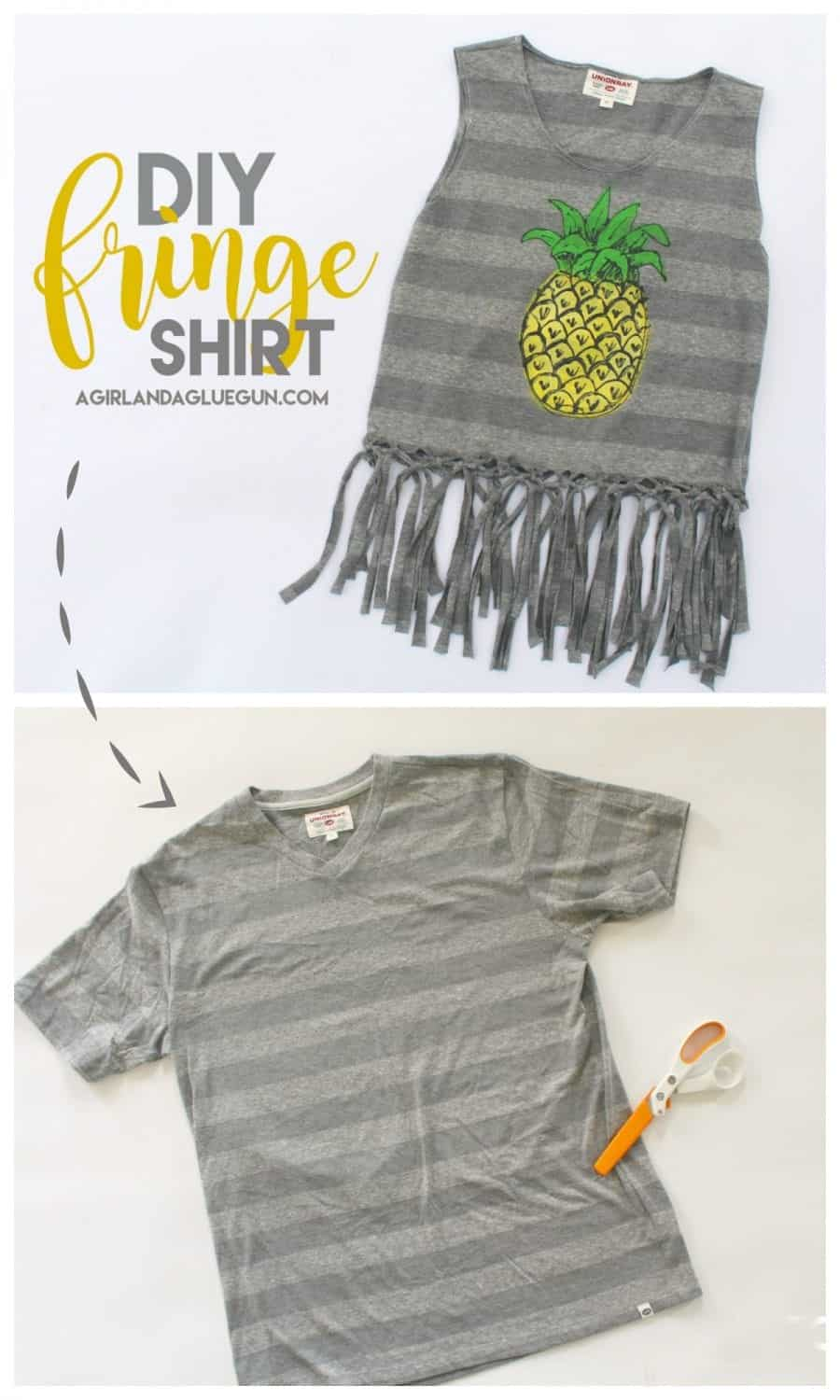 diy fringe shirt with pineapple