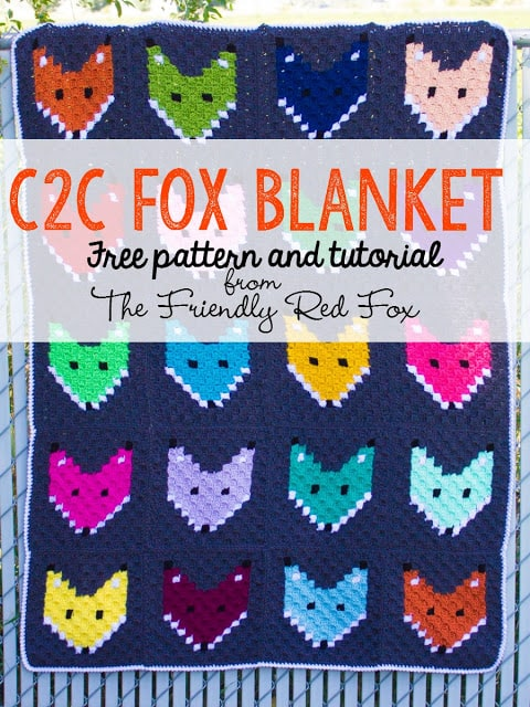 c2c fox blanket free pattern