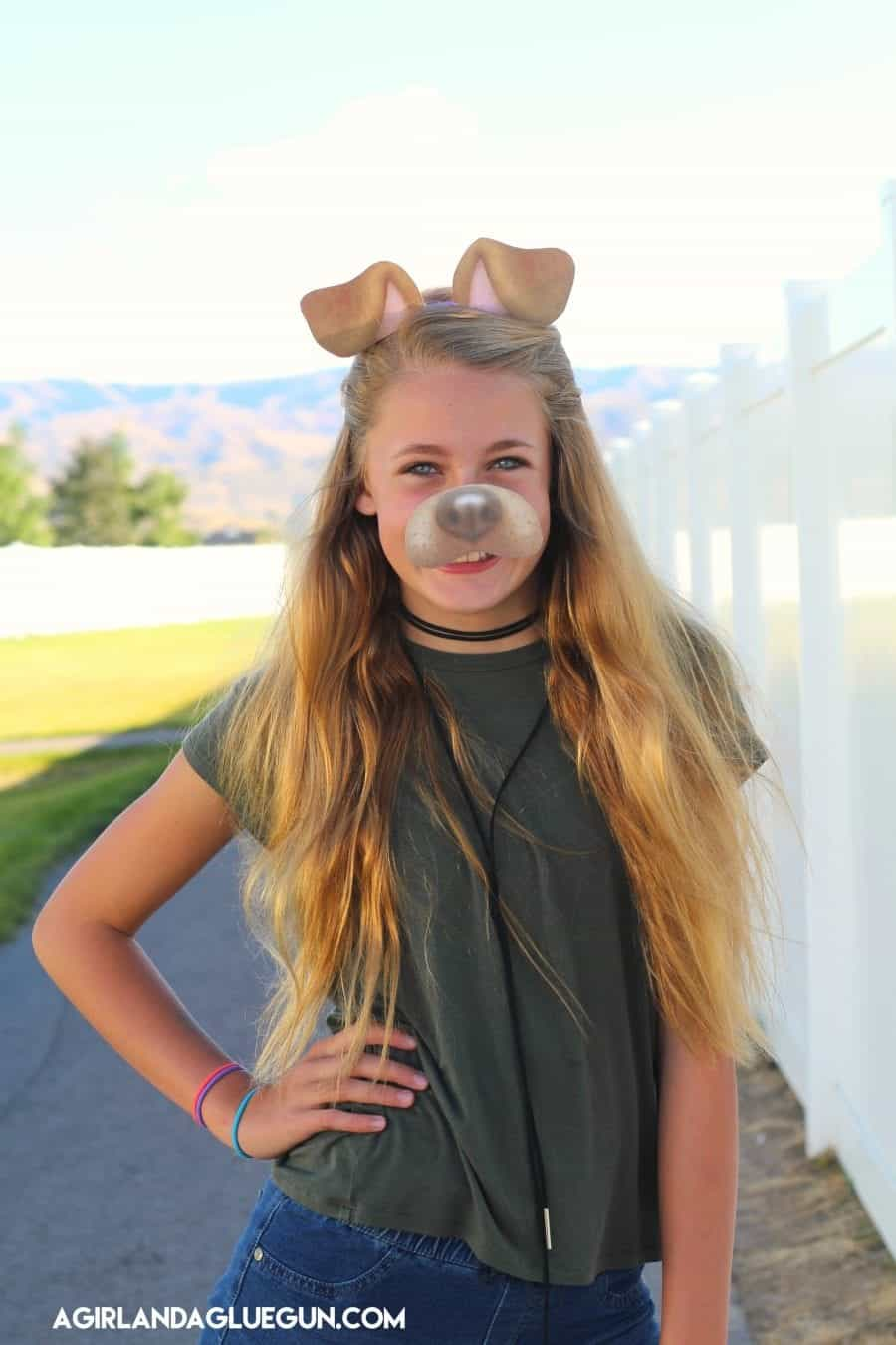 ... teen-halloween-costume  sc 1 st  A girl and a glue gun & Snapchat filter-puppy costume with free printable! - A girl and a ...