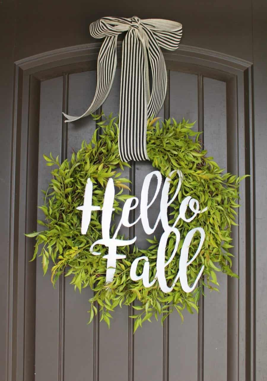 how to make a pretty green wreath for cheap a girl and. Black Bedroom Furniture Sets. Home Design Ideas