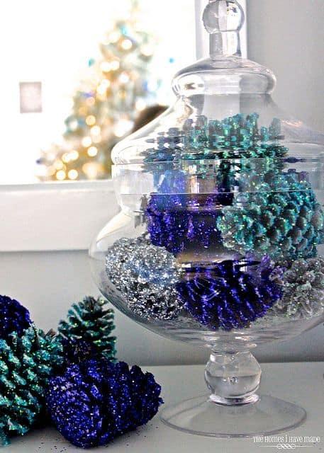 glittered-pinecones