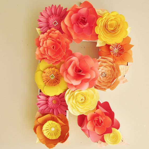 25 fun ways to use paper flowers a girl and a glue gun floral initial il570xn1125294327ef64 mightylinksfo