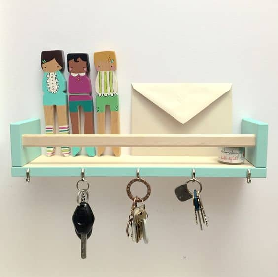 40 ways to organize with an ikea spice rack a girl and a glue gun - Portachiavi da parete ikea ...