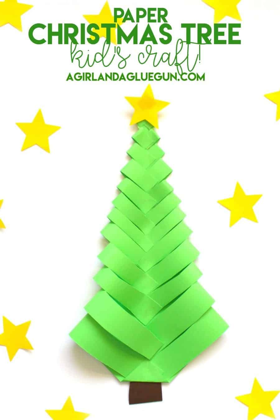 Paper Christmas Tree-Kid\'s craft! - A girl and a glue gun