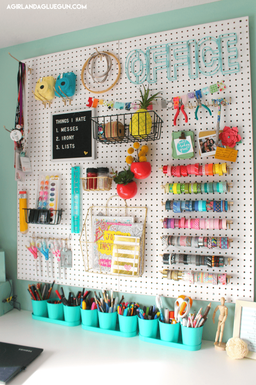 over 30 ways to organize with a peg board a girl and a glue gun. Black Bedroom Furniture Sets. Home Design Ideas