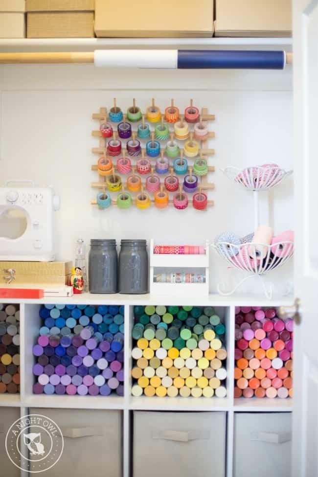 Vintage Craft Room Decor Shelves