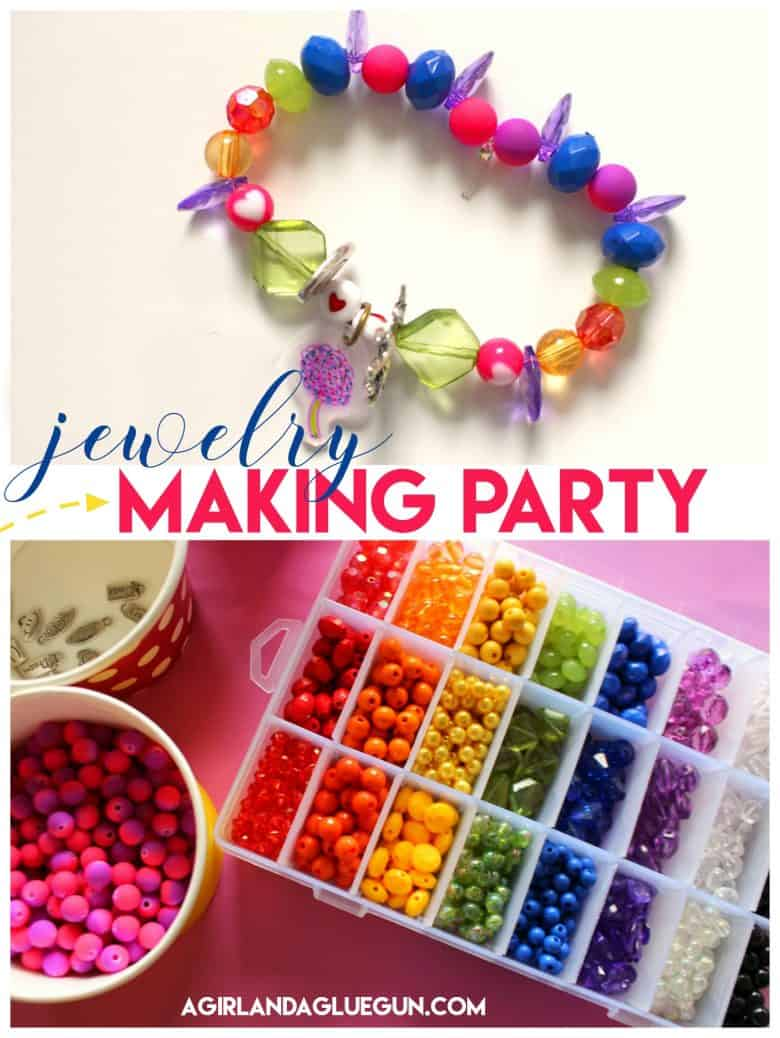 jewelry making party idea - A girl and a glue gun
