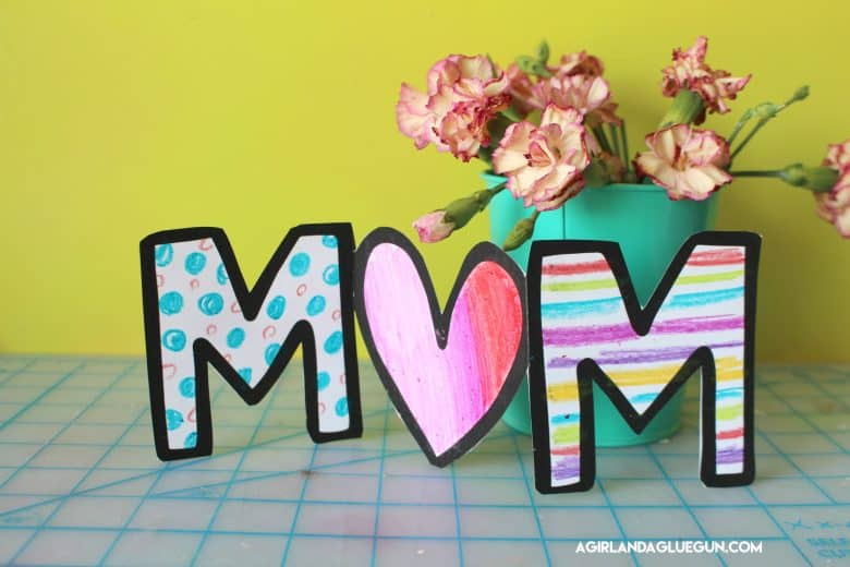 Mother S Day Card For Kids To Color A Girl And A Glue Gun