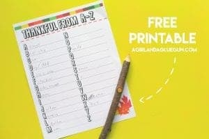 Thankful from a-z printable