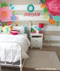 Floral, colorful tween bedroom