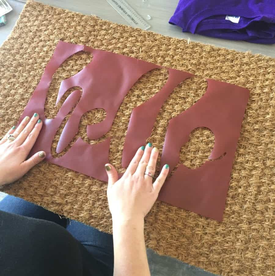 How to stencil and paint a door mat - A girl and a glue gun