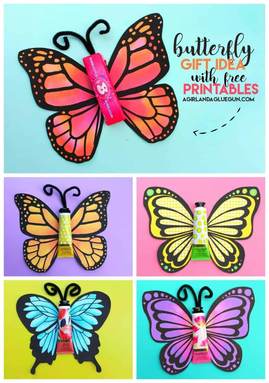 photograph about Printable Butterfly Pictures called Butterfly reward with free of charge printable. - A lady and a glue gun