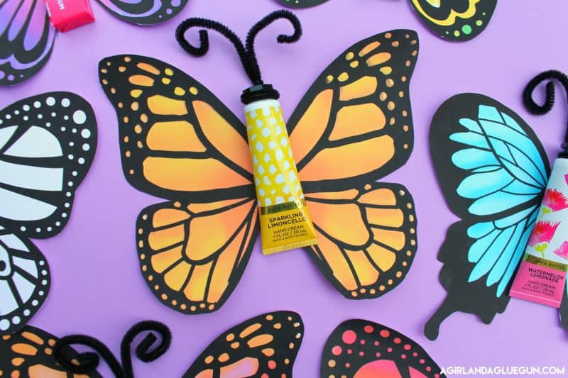 butterfly gift with free printable a and a glue gun