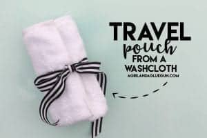 Travel pouch out of a washcloth