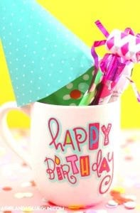 Birthday in a mug and free cut file!
