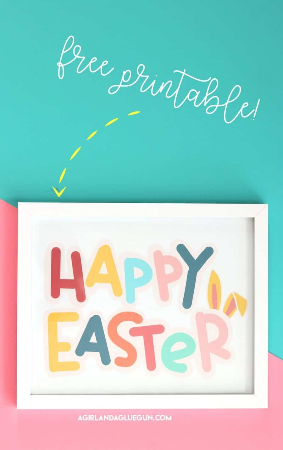 photograph relating to Happy Easter Sign Printable named Pleased Easter printable - A woman and a glue gun