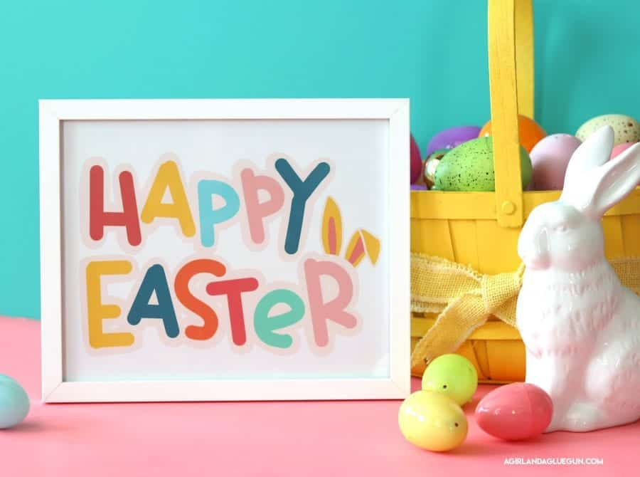 image regarding Happy Easter Printable identified as Content Easter printable - A woman and a glue gun
