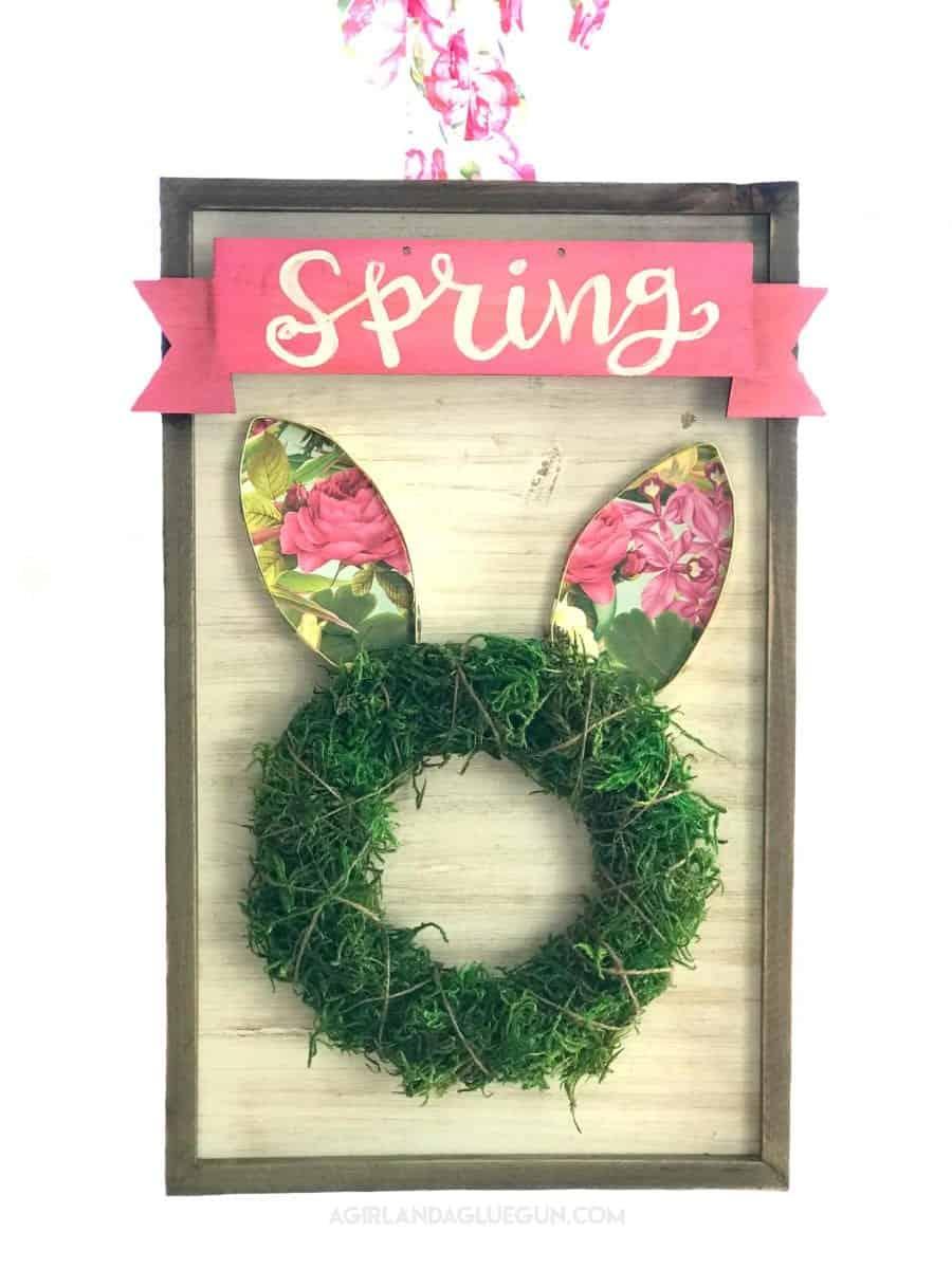 Diy Spring Wreath Easter Bunny A Girl And A Glue Gun