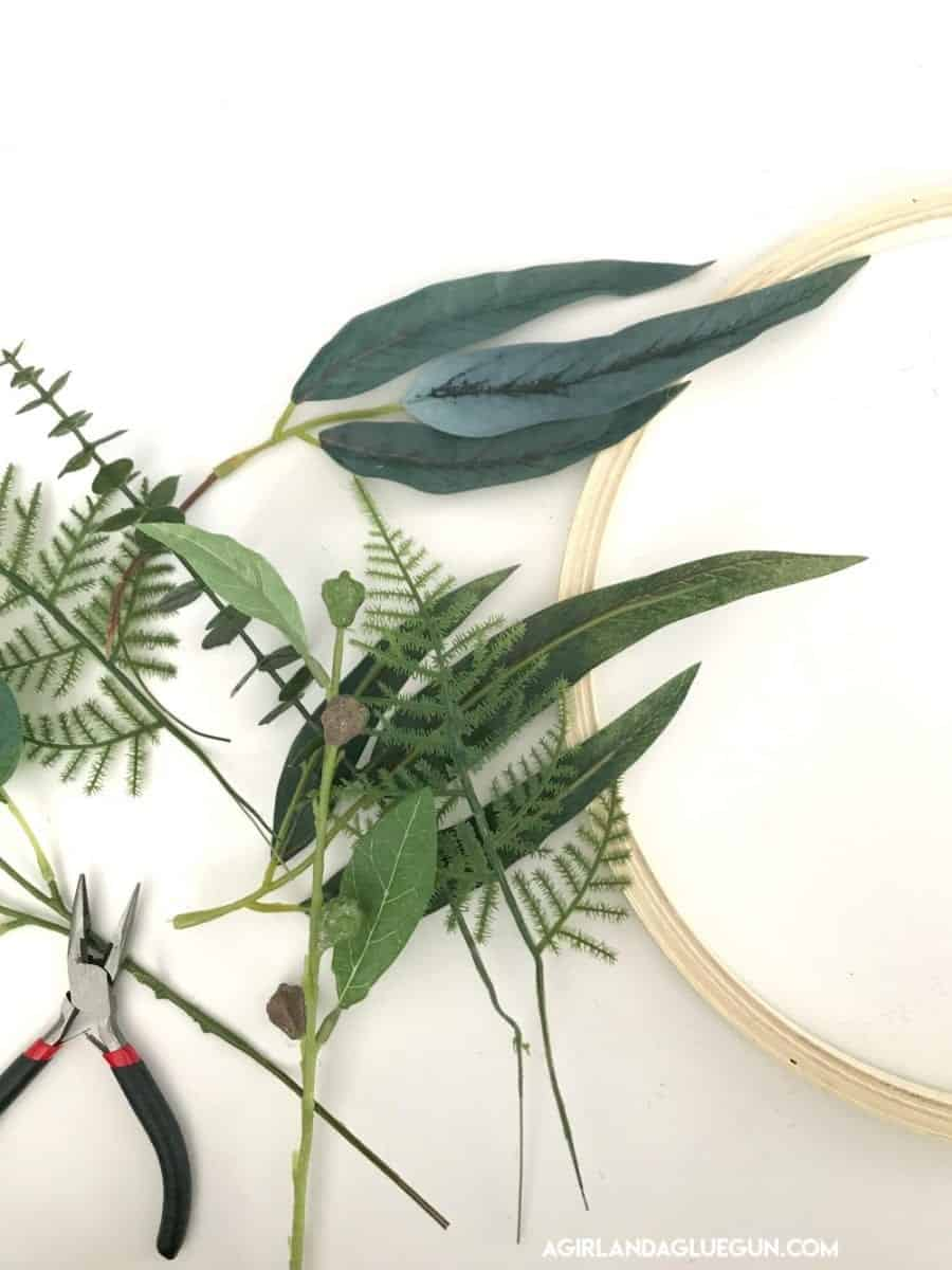 supplies for embroidery wreath