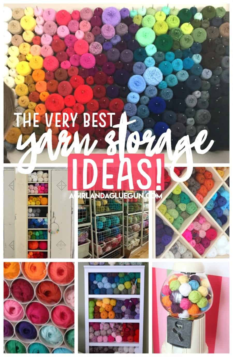 ... pom poms though) but that doesnu0027t mean I canu0027t appreciate some AMAZING yarn storage! Something about all those pretty colors just make me swoon!! Enjoy!  sc 1 st  A girl and a glue gun & yarn storage - A girl and a glue gun