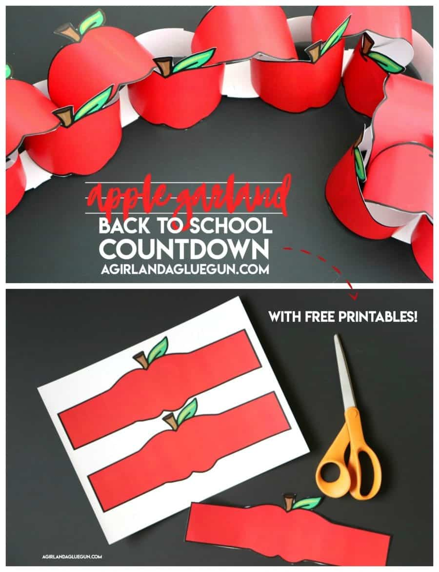 apple garland back to school countdown printable idea