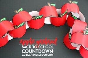 apple garland-back to school countdown with printables