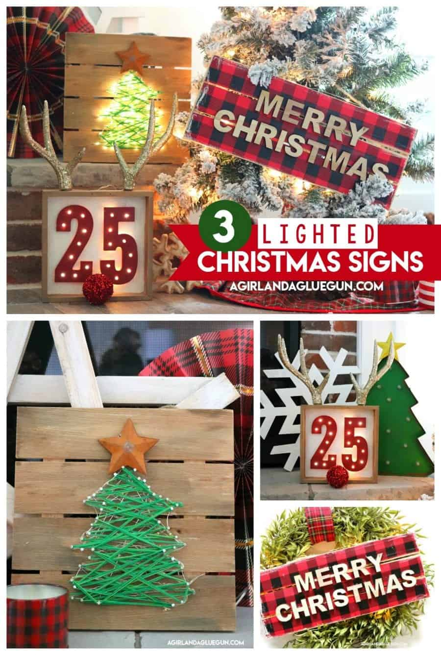 Hobby Lobby Christmas Wreaths.Lighted Christmas Sign 3 Ways A Girl And A Glue Gun