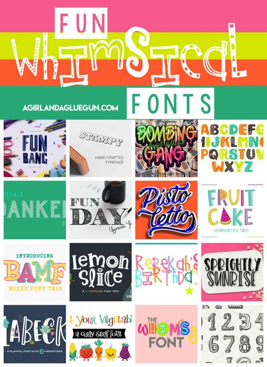 Fun Whimsical Fonts - A girl and a glue gun