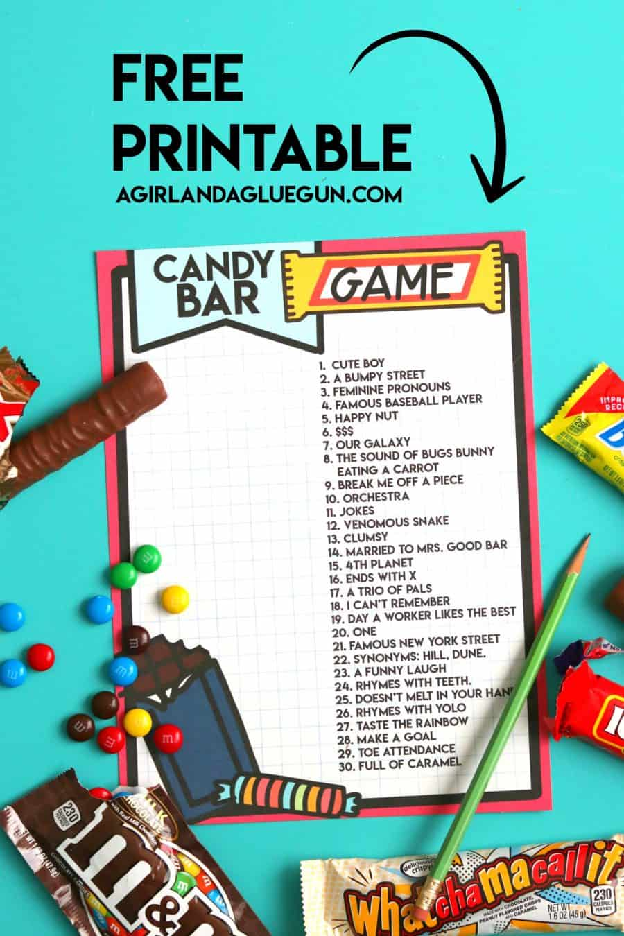 picture regarding Candy Bar Game Printable named Sweet bar match printable - A woman and a glue gun