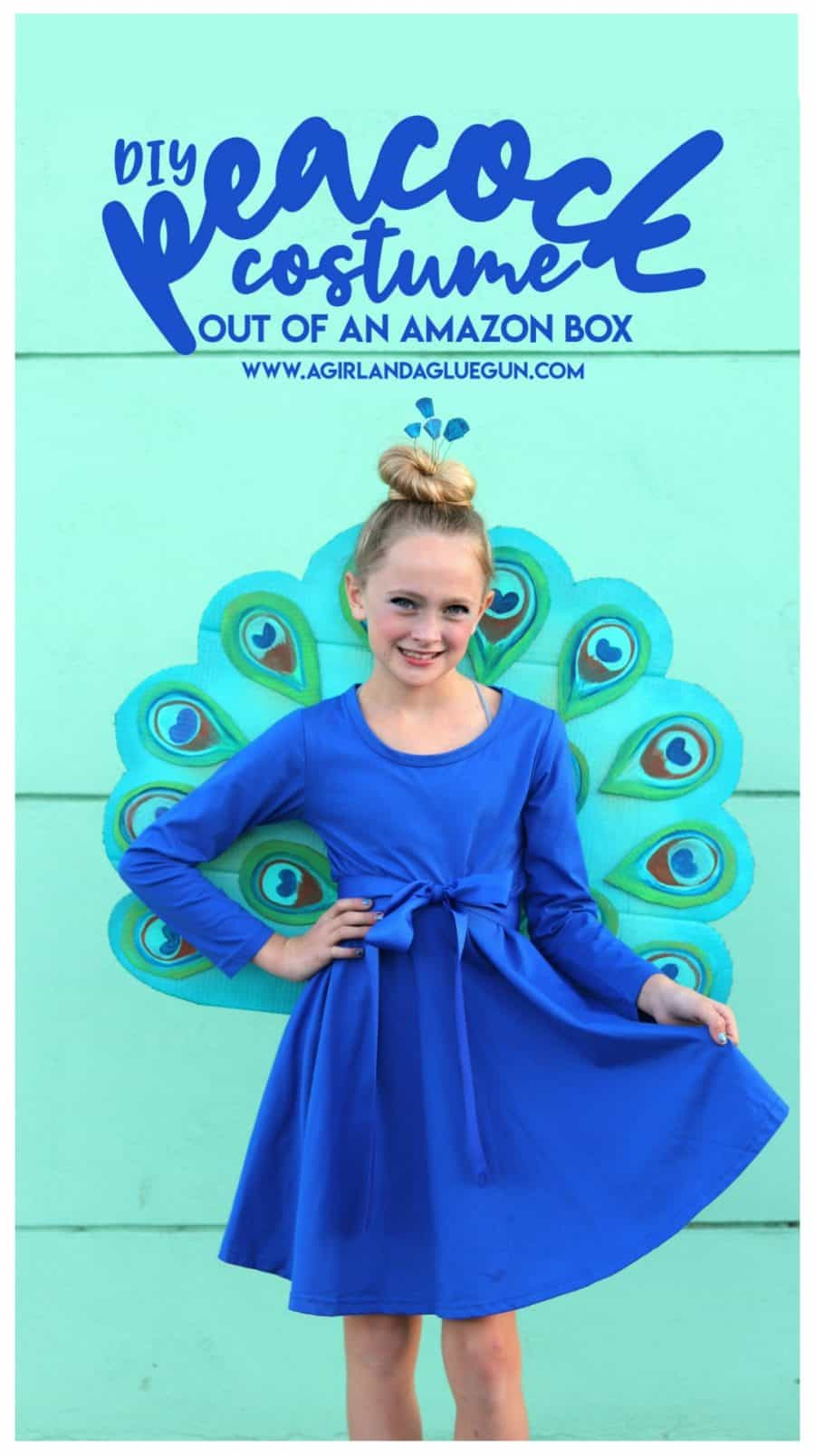 DIY Peacock Costume - A girl and a glue gun
