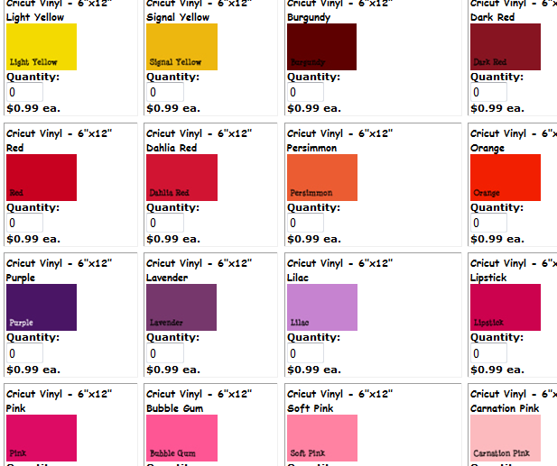 and a great blog - Cricut Vinyl Colors